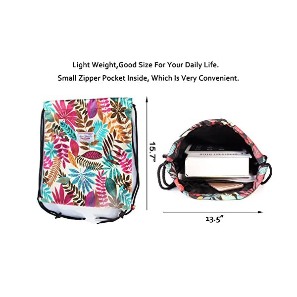Drawstring Bag Water Resistant Floral Leaf Lightweight Gym Sackpack for Hiking Yoga Gym Swimming Travel Beach 4
