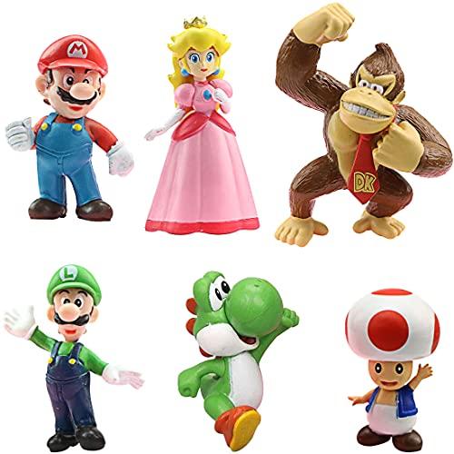 Miotlsy Super Mario Bros Pvc de 6 Personajes de Super Mario Bros Figura de acción Juguetes Modelo muñecas Decoraciones de Pastel