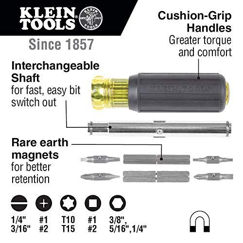 Klein Tools 32500MAG Magnetic Multi-Bit Screwdriver / Nut Driver, 11-in-1 Multi Tool with 8 Bits, 3 Nut Driver Sizes, Cushion Grip Handle