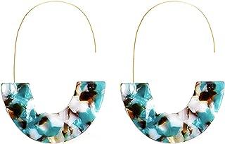 Tortoise Acrylic Half Round Hoop Drop Earrings KELMALL COLLECTION