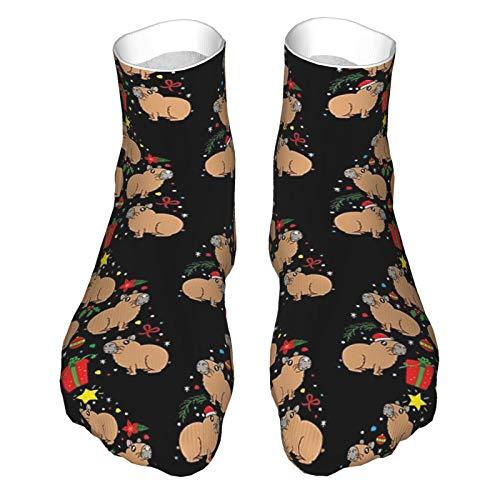Erwachsene Socken, Low-Cut Socken, Freizeitsocken, atmungsaktive Sportsocken, Unisex 30cm Capybara Weihnachtsbaum