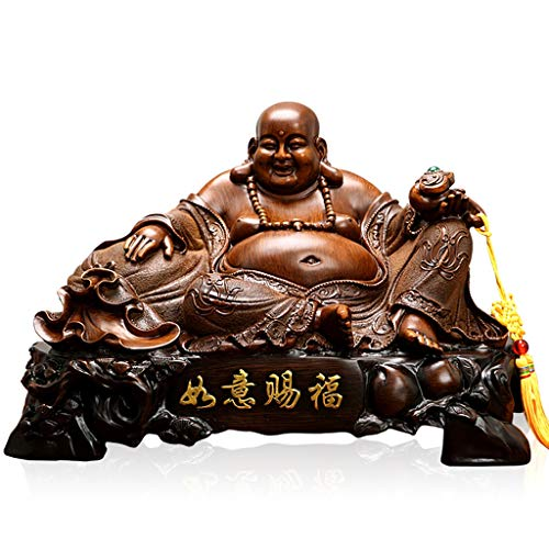 Buddha Statue Figurine Fengshui Buddha Statue for Lucky & Happiness God of Wealth,Laughing Buddha Buddhist Statues and Sculptures Home Decor Congratulatory Gifts Meditation Decor