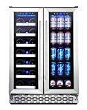 Phiestina Wine and Beverage Refrigerator | 24 Inch Built-In Dual Zone Wine Beer Cooler Refrigerator | Free Standing French Door Drink Fridge with Digital Memory Temperature Control