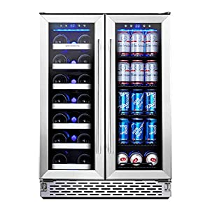 Phiestina Wine and Beverage Refrigerator | 24 Inch Built-In Dual Zone Wine...