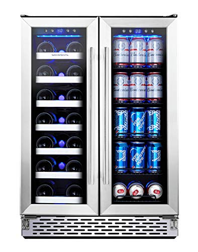 Phiestina Wine and Beverage Refrigerator | 24 Inch Built-In Dual Zone Wine Beer...