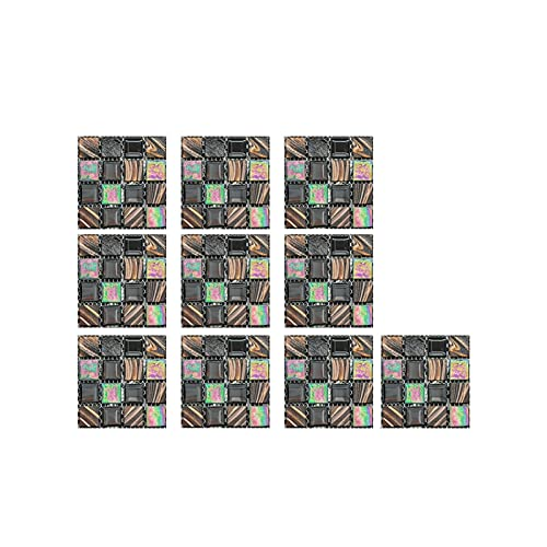 QOXEFPJZ Cenefa Adhesiva Cocina 10 unids/Set Pegatinas de Azulejos de Cristal 3D DIY Etiquetas engomadas Autoadhesivas a Prueba de Agua DIY Cocina Cuarto de baño Casa Tile Pegatina Piso Calcomanías-