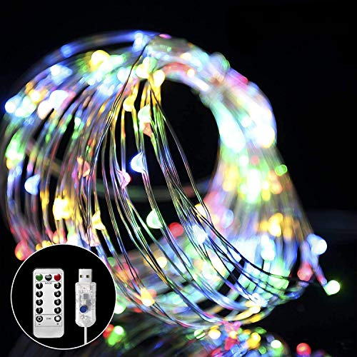 Fairy Lights Waterproof, 2 Pack 12m/39ft 120 LEDs String Lights USB Plug in, 8 Modes Remote Timer Indoor/Outdoor Copper Wire Lights for Bedroom, Wedding, Party, Christmas Decorations (Multi-Coloured)
