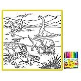 Shopaholic Fantastic Color Dinosaur Era, City Vehicles, Ocean Underwater Design Coloring Mat with Washable Markers Colour Pens (Multicolor) Set 2