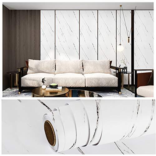 VEELIKE épaissir auto-adhésif papier peint en marbre blanc papier de contact en granit autocollant mural en pierre imperméable pour armoire de comptoir de cuisine dosseret salle de bain 40cm × 900cm