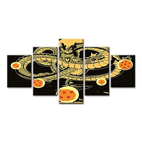 SZQY Cuadros Póster Impresión 5 Piezas Lienzos Cuadros Pinturas Dibujos Animados Impresiones En Lienzo Decoración para El Arte De La Pared del Hogar 150×80Cm/ Animación rol Dragon Ball(Enmarcado)