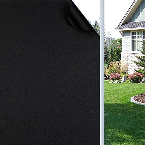 Blackout Window Film Block Light Window Film Darkening Non-Adhesives Static Cling 100% Light Blocking Film Heat Control Total Blackout Window Film for Room Darkening Day Sleep (17.7 x 78.7 inches)