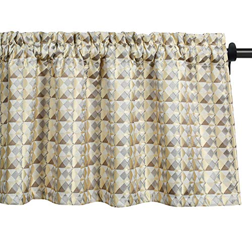 VOGOL Curtain Valances Jacquard Grid Checker Pattern Drapes for Kitchen, Pocket Modern Gingham Curtains and Valance for Bedroom, One Panel, 52x18 Inch, Brown_Grey