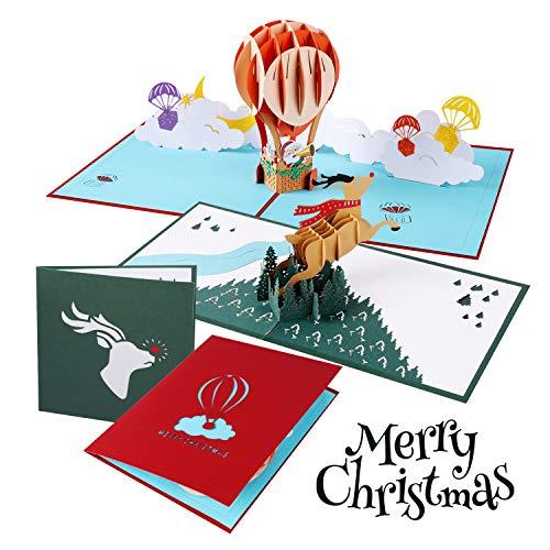 Atrigger 3D Biglietto Auguri Natale, Pop Up Auguri Natale Paper Christmas Card Biglietto Compleanno