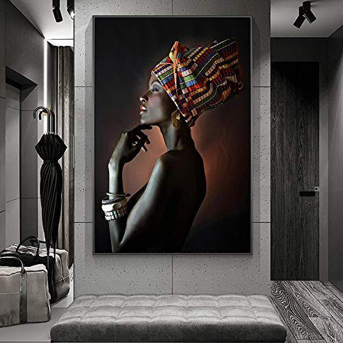Black girl with silver jewelry African art canvas painting on the wall art posters and prints 60x80 Frameless