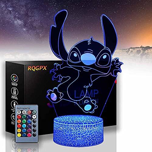 Lilo & Stitch A 3D Glow LED Luz de Noche Inspiración 16 Colores Lámpara de Ilusión Óptica Sensor Táctil para Casa Fiesta Festival Decoración Gran Idea Regalo