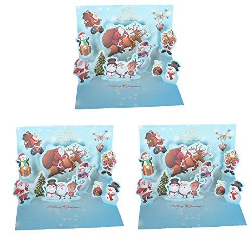 Suministros estéreo Tarjeta de Navidad hecha a mano DIY creativo de colores de impresión de tarjetas multi Bendición Función de Navidad Tarjetas de Navidad del partido 3D para Home 3pcs Azul Púrpura