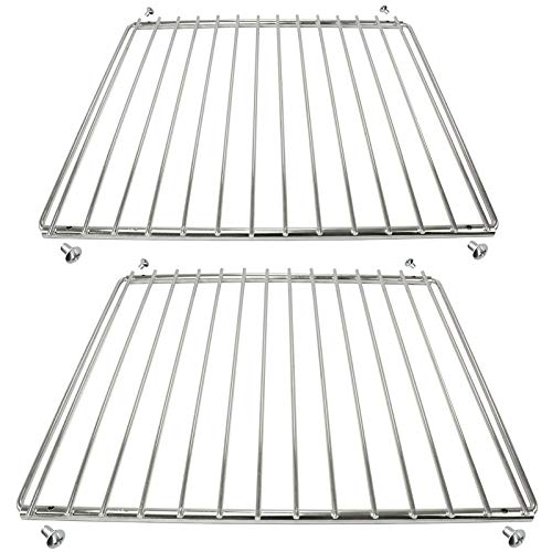 Spares2go Chrome Adjustable Universal Fixed Arm Grill Shelf for All Makes of Oven Cooker & Grill (310 x 340-530mm, Pack of 2)