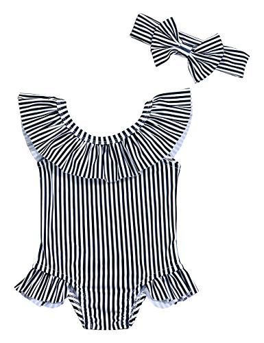 Oklady Baby Girl One Piece Swimsuit Stripe Bikini Beach Bathing Suit Infant Swimwear with Bow Headband 3-6 Months