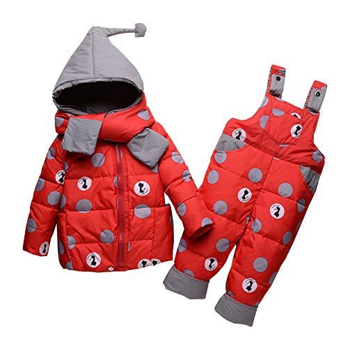 YFPICO Kinder Schneeanzug Daunenjacke Skianzüge Winter Bekleidungsset Kaputze 2tlg Verdickte Daunenhose Kinderskianzug, Rot, 104/110(Etikettengröße:110)