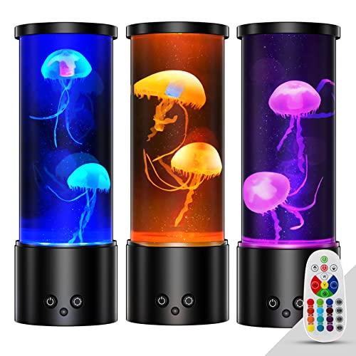 Lampara Medusa Lampara de Lava Acuario Luz de Noche Control Remoto Luz Ambiente con 17 Lampara Led Colores, Medusas Artificiales Acuario USB Lámpara de Mesa por Oficina en Casa Decoración, Negro