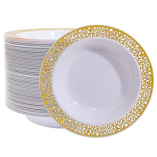 60 Disposable Gold Plastic Dessert Bowls, 12 oz Soup Bowls, Gold Lace Trim China Look, Premium Heavy Duty Plastic Plates for Wedding/Party (Gold)