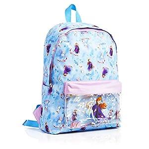 5157FpzO8fL. SS300  - Disney Frozen 2 Mochila Escolar Infantil Para Niñas Adolescentes, Princesas Disney Anna Elsa, Mochilas Escolares Juveniles Bolsillo Delantero Confeti Brillante, Regalos Para Niños Colegio Viaje