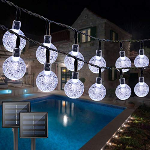 2PK Solar String Lights Outdoor Waterproof, Total 100 LED 61FT Crystal Globe Lights with 8 Modes, Solar Lights Outdoor for Patio Balcony Garden Yard Porch Party (Cool White)
