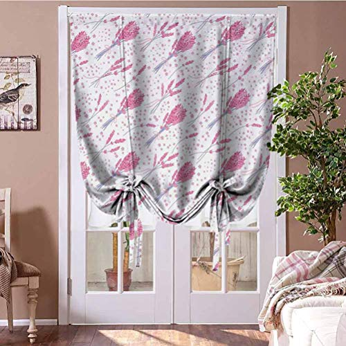 GugeABC Room Darkening Curtain Lavender Thermal Insulated Blackout Curtain Vintage Hand Drawn Bouquets Rustic Country Themed Pattern Little Blooms 35' W x 64' L Purplegrey Pink White