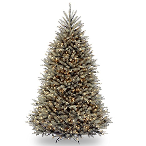 National Tree Company Pre-lit Artificial Christmas Tree   Includes Pre-strung White Lights and Stand   Dunhill Blue Fir - 7.5 ft