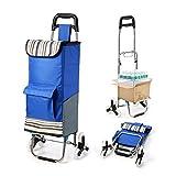 【Versión actualizada】Carro de la compra plegable, Pootack 2 en 1 Carrito de compras 6 ruedas, Carretilla escalada,...