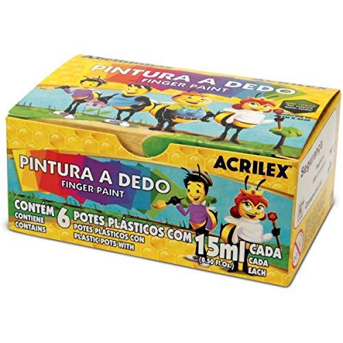Pintura a Dedo 15 ml, Acrilex 11315, Multicor, Pacote de 6