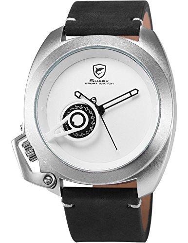 Shark Herren Armbanduhr Analog Quarzuhr Schwarz Pferdeleder Band Datumsanzeige SH450