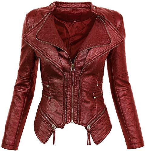 Rock Creek Selection D-305, giacca leggera in similpelle da donna, ideale per la mezza stagione, look da motociclista, taglie S-XL rosso vivo 42