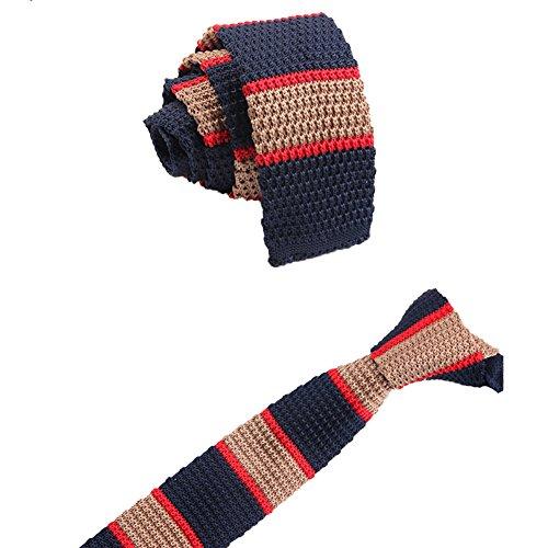 WDOIT Fashion gestreift Krawatte Krawatte Krawatte gestrickt Reißverschluss superdünn mit Flach Herren Stil C
