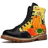 TIZORAX Botas de Invierno para Mujeres Otoño Calabaza y Seta Impresiones de Alta Parte Superior de Encaje Clásico Zapatos de Escuela de Lona, color Multicolor, talla 40.5 EU