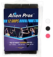 Alien Pros テニスラケットグリップテープ(12グリップ)– プレカット、ドライタイプのテニスグリップ – テニスオーバーグリップテープ、テニスラケット – ラケットに巻いて、高性能にしましょう(12グリップ,ブラック)