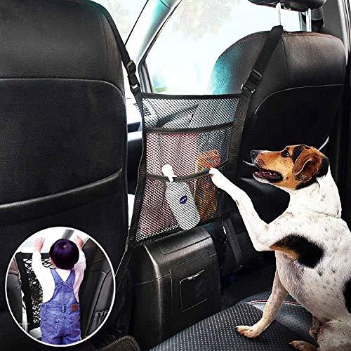【2020 Upgraded】3-Layer Car Mesh Organizer,Car Organizer Front Seat, Barrier of Backseat Pet Kids,Seat Back Net Bag,Car Accessories Interior,Barrier of Backseat Pet Kids, Cargo Tissue Purse Holder