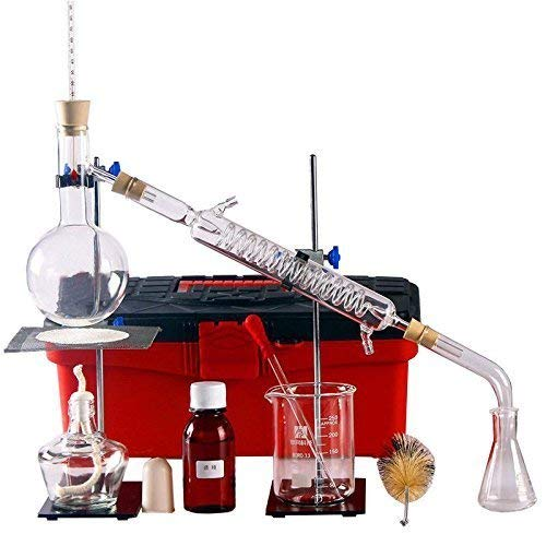 Destilliergerät für Destillation, Labor, Glasware, Wasserdestiller, Industrie, wissenschaftlich zur Herstellung von ätherischen Ölen, Alkohol, Destillationsgeräten, Set mit 23 Sets (250 ml)