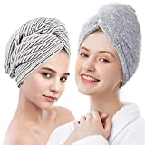 ELLEWIN Bamboo Hair Towel Wrap 2 Pack, Microfiber Hair Drying Shower Turban with Buttons,Super...