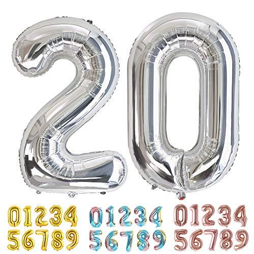 Ponmoo Silber Luftballon Zahlen 20 0 1 2 3 4 5 6 7 8 9 10 to 30 40 50 60 Riesige Folienballon Zahl Geburtstagsdeko, Deko zum Geburtstag Folienluftballons Dekoration Birthday Heliumdeloono