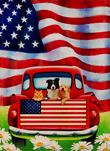 Dyrenson Decorative Outdoor 4th of July Dog Flowers Garden Flag Double Sided, Rustic Farm Old Red Truck House Yard Flag Daisy, Home American Holiday USA Seasonal Outdoor Flag 12.5 x 18 Gift