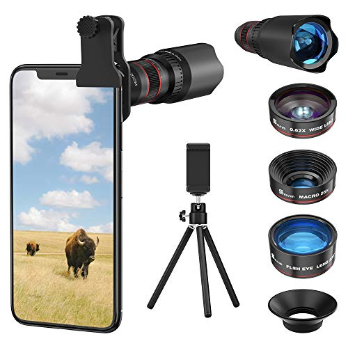 Selvim Phone Camera Lens Phone Lens Kit 4 in 1, 22X Telephoto Lens, 235° Fisheye Lens, 0.62X Wide Angle Lens, 25X Macro Lens, Compatible with iPhone 10 8 7 6 6s Plus X XS XR Samsung - Black