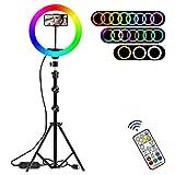 RGB Luz de Anillo LED 12,8' con Trípode y Wireless Control Remoto, Luz de Anillo LED de 19 Colores 10 Brillos Regulables para Selfie, Maquillaje, Youtube, TIK Tok