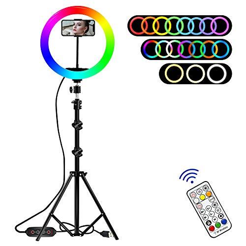 RGB LED Luce ad Anello per selfie da 12,8' con Treppiede e Telecomando, Lampada Anulare con 19 Colori e 10 Livelli di Luminosità per Smartphone,Foto,Youtube,Trucco, TikTok, Fotografia