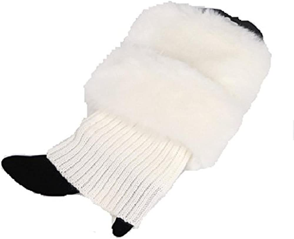 Women's Girl's Cute Faux Fur Trim Knitted Leg Warmers Boot Cuff Toppers