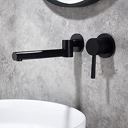 SJQKA-Waschtischarmatur Wasserfall Wandmontage Wasserhahn Wand Unterputz Einzigen Handgriff 2-Loch Badarmatur Heiß Und Kalt,für Badezimmer Waschtisch Oder Badewanne Unterputz (Black)
