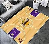 zzqiao Estilo Europeo Y Americano NBA Baloncesto Lakers Equipo Sala De Estar Sofá Mesa De Café Dormitorio Alfombra De Noche Personalidad Rectangular Alfombra Antideslizante Creativa 120 * 160 Cm