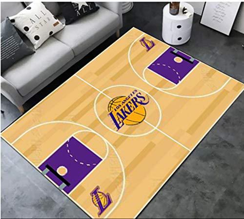 zzqiao Stile Europeo E Americano NBA Basket Lakers Squadra Soggiorno Divano Tavolino Camera da Letto Comodino Tappeto Rettangolare personalità Creativa Tappeto Antiscivolo 80 * 120 Cm