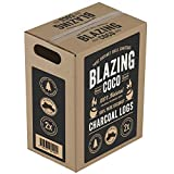 Blazing Coco Premium 20 Pound Coconut Shell Charcoal Logs - All Natural High End Grilling