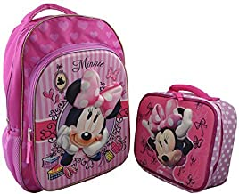 """Disney Minnie Mouse Girl's3D Pop out Large 15.5"""" Backpack with 3D Pop out Lunchbox"""